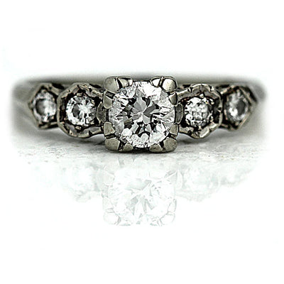 Trefoil Prong Transitional Cut Diamond Engagement Ring