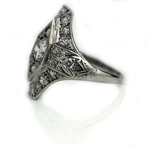 Edwardian Platinum and Diamond Engagement Ring