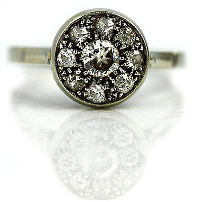Vintage White Gold Cluster Engagement Ring