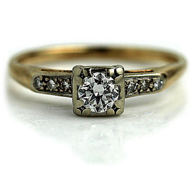 1950s Diamond Engagement Ring with Side Diamonds