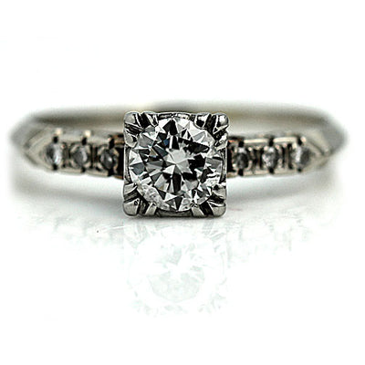 1950s Vintage Diamond Ring with Side Stones