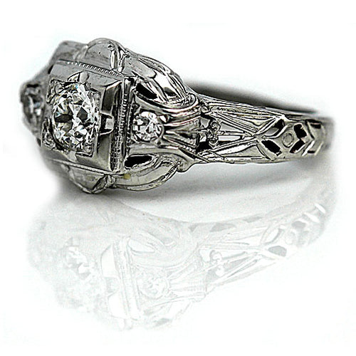 White Gold .35 ct Diamond Engagement Ring with Side Diamonds