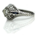 Art Deco .60 Carat Diamond Sapphire Ring Platinum
