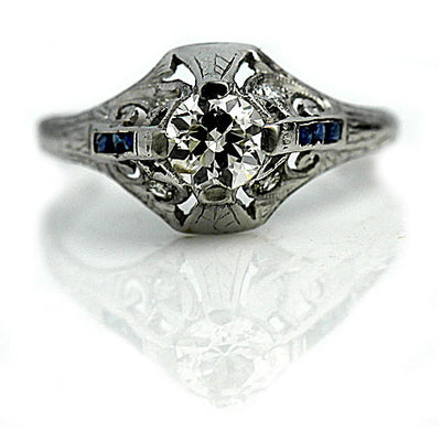 Vintage Diamond & Sapphire Engagement Ring