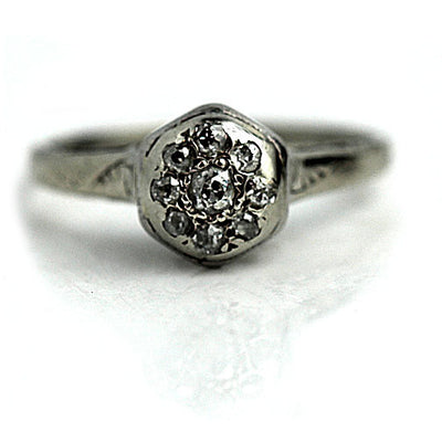 Petite Cluster Diamond Engagement Ring