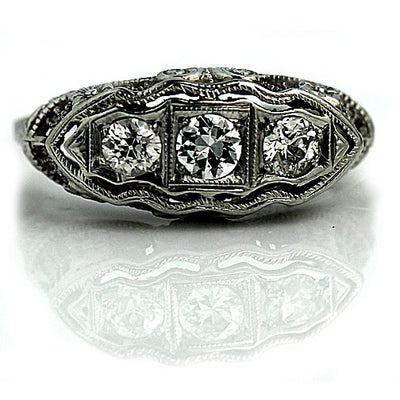 Art Deco Antique Three Diamond Engagement Ring