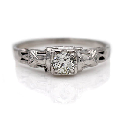 Thin Solitaire Engagement Ring with Filigree Band