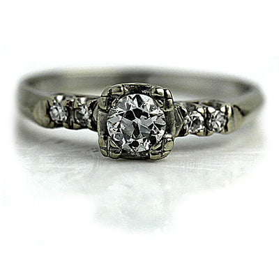 Petite Diamond Engagement Ring with Side Stones