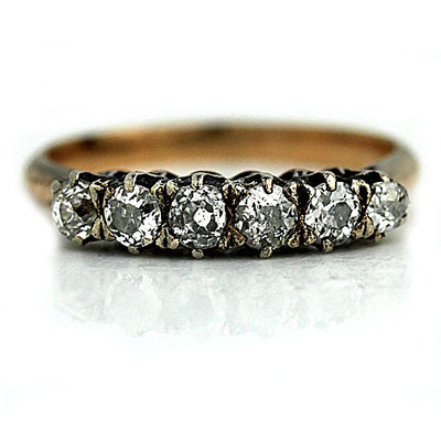 Victorian Two-Tone Wedding Ring - Vintage Diamond Ring