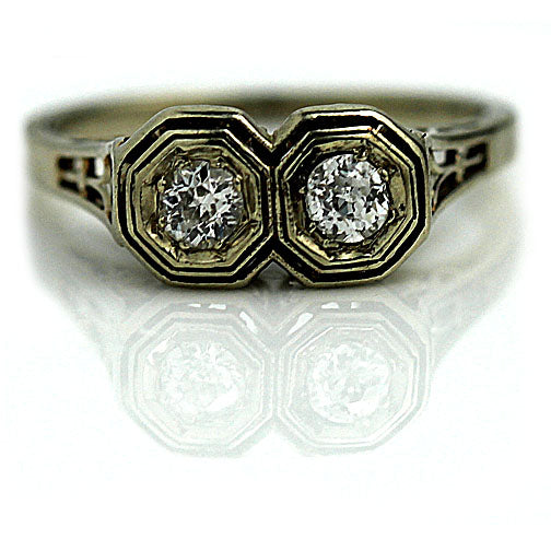 Art Deco Twin Stone Diamond Ring .30 Carat