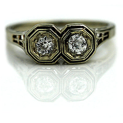 Art Deco Twin Stone Diamond Engagement Ring with Heart Motif