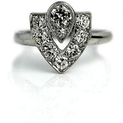 Half-Asymmetrical Diamond Engagement Ring in Platinum