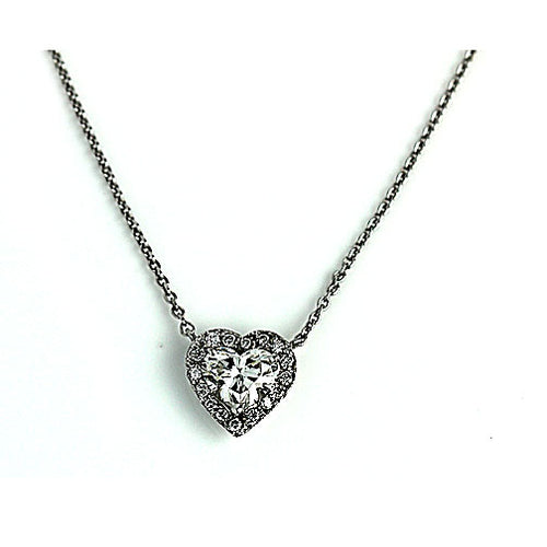 Vintage 1.39 Carat Heart Shape Diamond Necklace GIA I SI2
