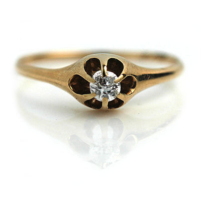 Six Prong Vintage Diamond Engagement Ring
