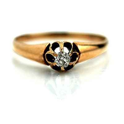 1940s Rose Gold Solitaire Diamond Ring