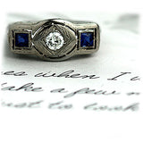 Art Deco Three Stone Diamond Sapphire Ring