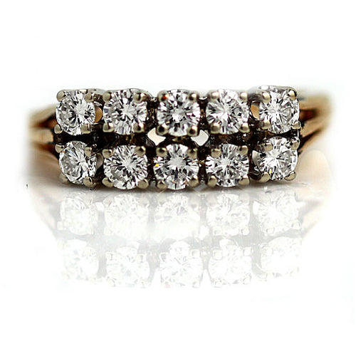 .90 Carat Vintage Two Row Diamond Wedding Band