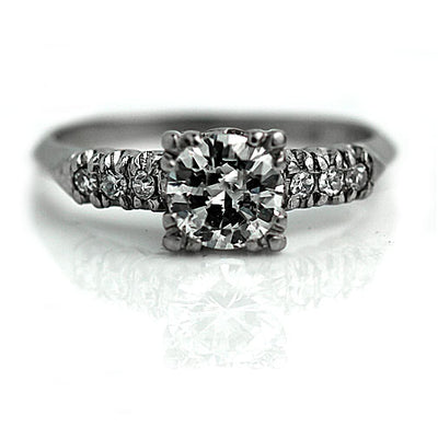 1940s Antique Engagement Ring with Side Stones