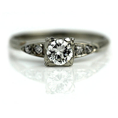 Transitional Cut Engagement Ring with Mine Cut Diamonds