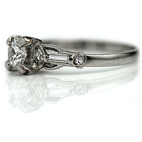 1950's Mid Century Diamond Engagement Ring .50 Carat