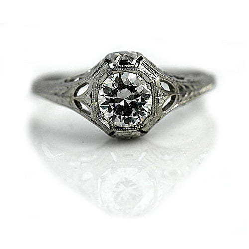Low Profile Octagon Solitaire Engagement Ring