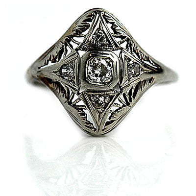 Mid-Century European Cut Diamond Dinner Ring