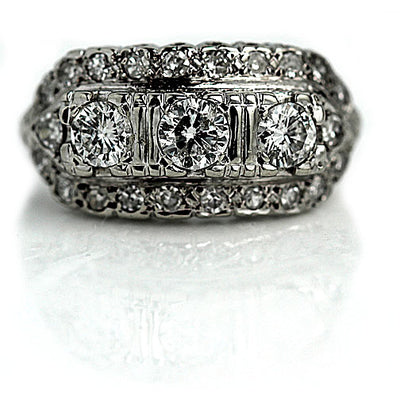 Late Art Deco Three Diamond Engagement Ring