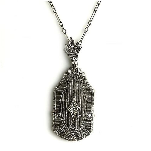 Art Deco Diamond Filigree Necklace