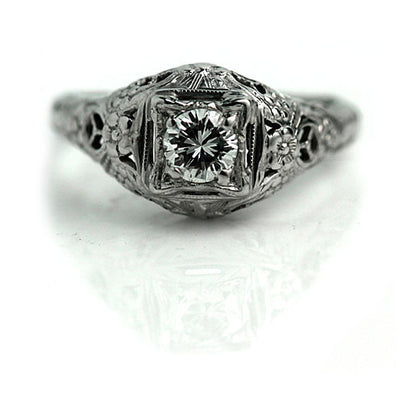 European Cut Diamond Floral Engagement Ring
