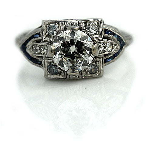 Art Deco Diamond and Sapphire Ring 1.09 Carat GIA - J SI1