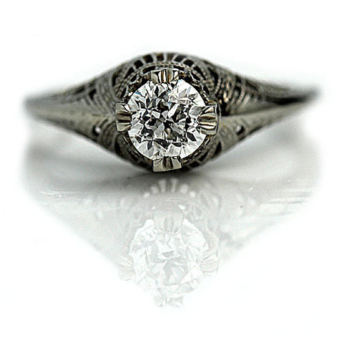 Art Deco Solitaire Engagement Ring .70 Carat