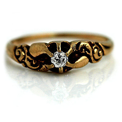 Low Profile Victorian Solitaire Engagement Ring