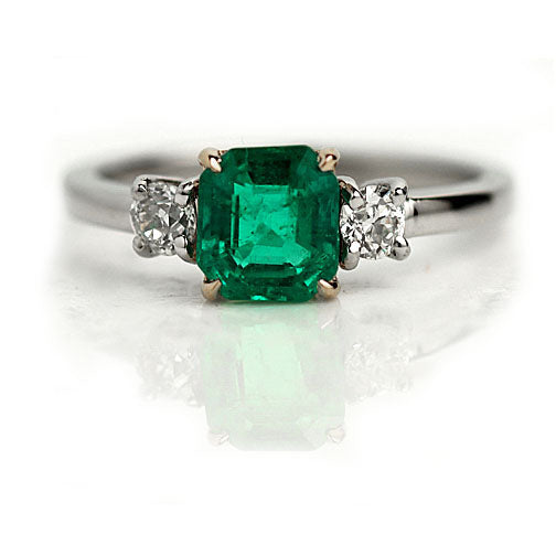 Vintage Emerald Diamond Engagement Ring 1.10 Carat