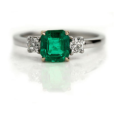 Emerald & European Cut Diamond Engagement Ring