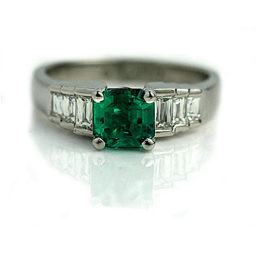1.24 Carat Vintage Emerald Engagement Ring in Platinum