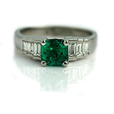 Vintage Emerald Engagement Ring with Criss Cut Diamonds