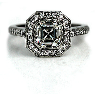 Vintage Asscher Cut Diamond Halo Engagement Ring - Vintage Diamond Ring