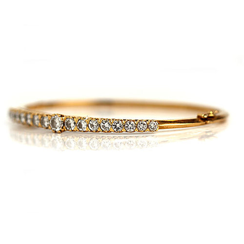 Vintage Round Cut Diamond Bangle Bracelet Circa 1980's