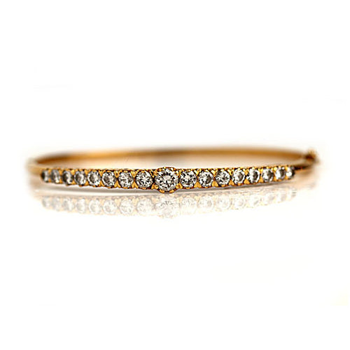 Vintage Round Cut Diamond Bangle Bracelet