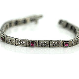 Art Deco Filigree Ruby Bracelet