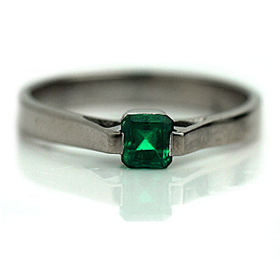 Vintage Square Emerald Solitaire Engagement Ring - Vintage Diamond Ring