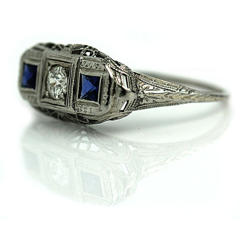 European Cut Engagement ring with Sapphire Side Stones