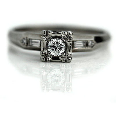 Illusion Set Diamond Engagement Ring with Baguettes