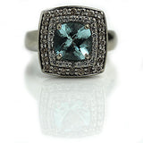 1.50 Carat Vintage Blue Gemstone Diamond Cocktail Ring