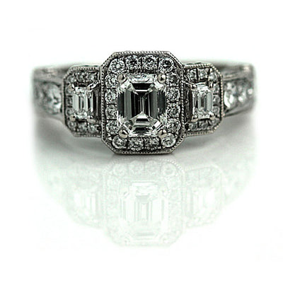 Vintage Emerald Cut Diamond Halo Engagement Ring