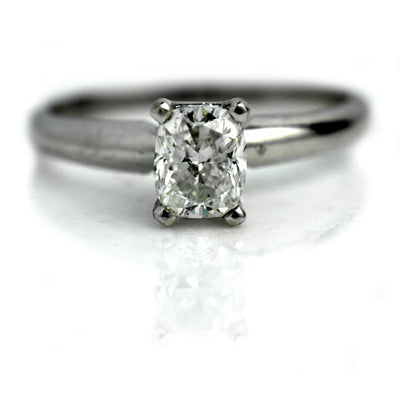 Vintage Cushion Cut Solitaire Diamond Engagement Ring