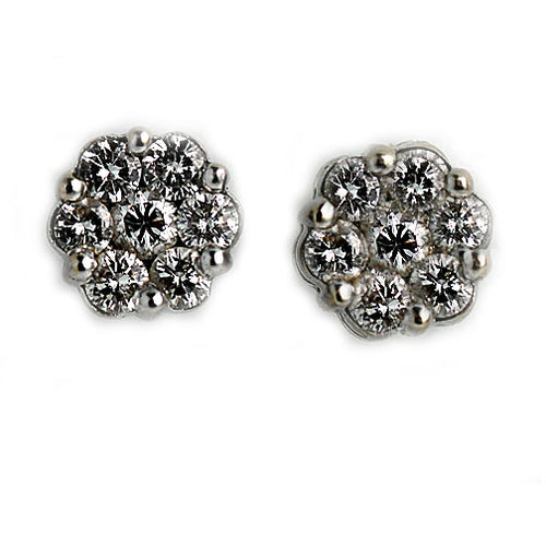 Vintage 14 Kt White Gold Button Earrings Circa 1970's