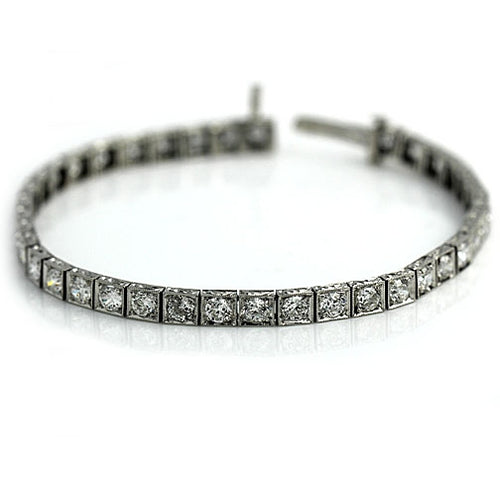 Art Deco Platinum Diamond Straight Line Bracelet