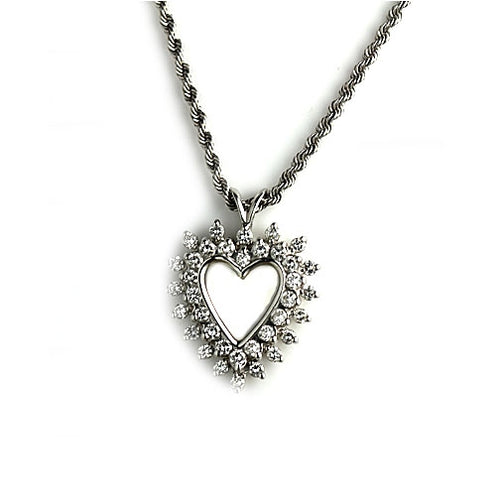 Estate Diamond Heart Necklace 1.00 Carat