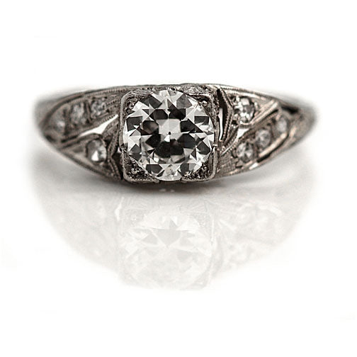 .90 Carat Art Deco Platinum Engagement Ring